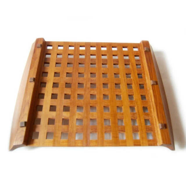 Dansk Teak Lattice Tray With Glass Dish Inserts - Image 5 of 6