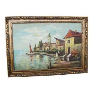 "Davis ""Fishing Village"" Oil on Canvas Painting"