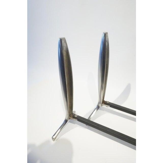 Modernist Aluminum Andirons - A Pair - Image 4 of 5