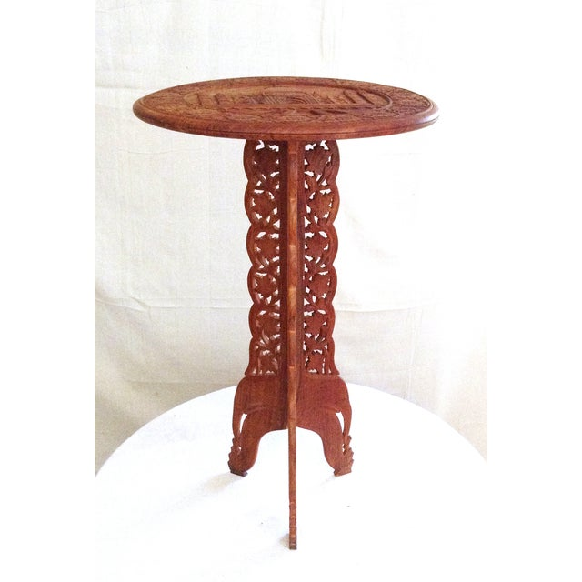 Vintage Taj Mahal Motif Carved Wood Table Chairish