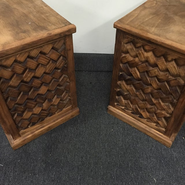 Patterned Wooden Nightstands - A Pair - Image 4 of 5