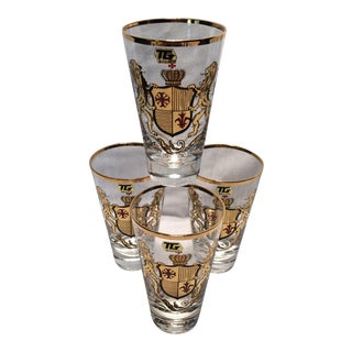 4 Vintage TG 22Kt Lions & Shield Highball Glasses