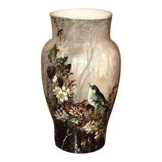 Antique Bourg-La-Reine Barbotine Vase, France Circa 1850