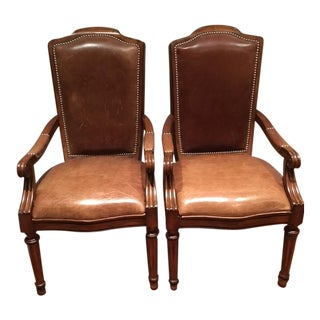 High Back Leather Upholstered Wood Chairs - Pair