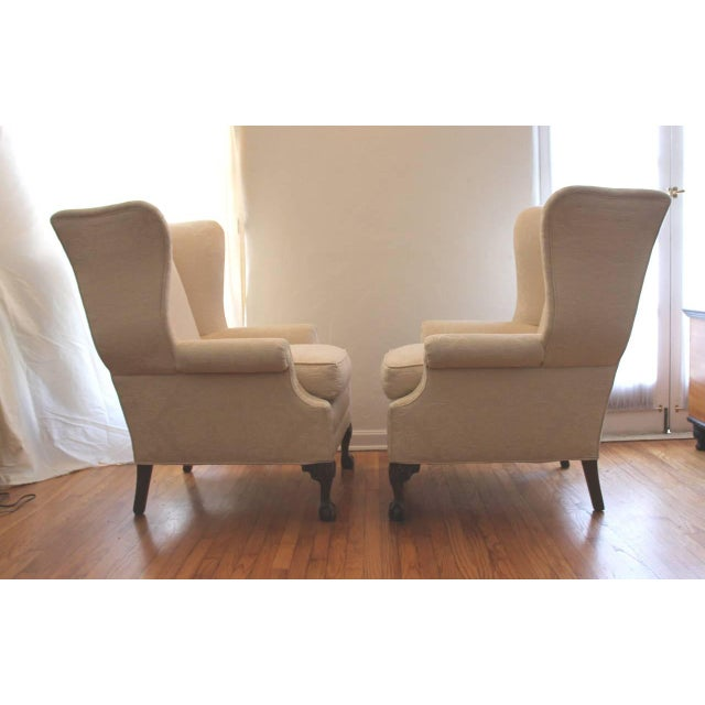Image of Pair of Monumental Damask Wing Chairs