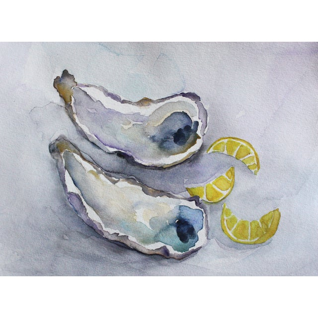Image of Oysters With Lemons Original Watercolor Painting