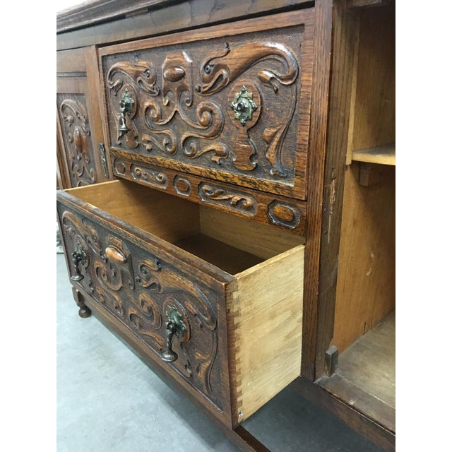 Antique Carved Wood Buffet - Image 9 of 10