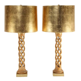 PAIR OF JAMES MONT CARVED-HELIX TABLE LAMPS