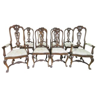Carved Walnut Clawfoot Dining Chairs - Set of 8