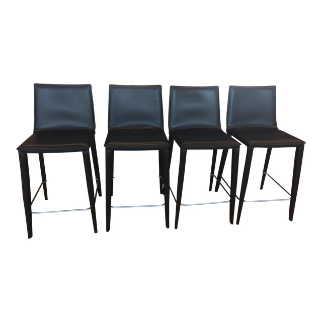 Black Leather Bottega Counter Stools - Set of 4 - Image 1 of 11
