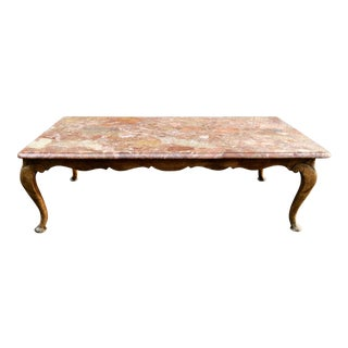 Antique Italian Coffee Table With Rouge Marble Top