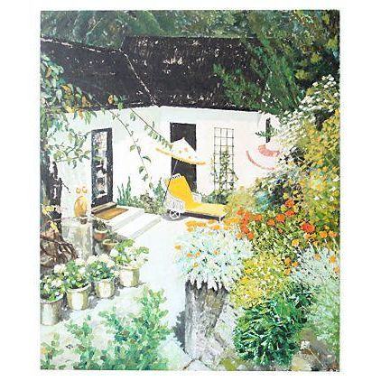Large Scale Oil Painting - Backyard Garden - Image 1 of 4