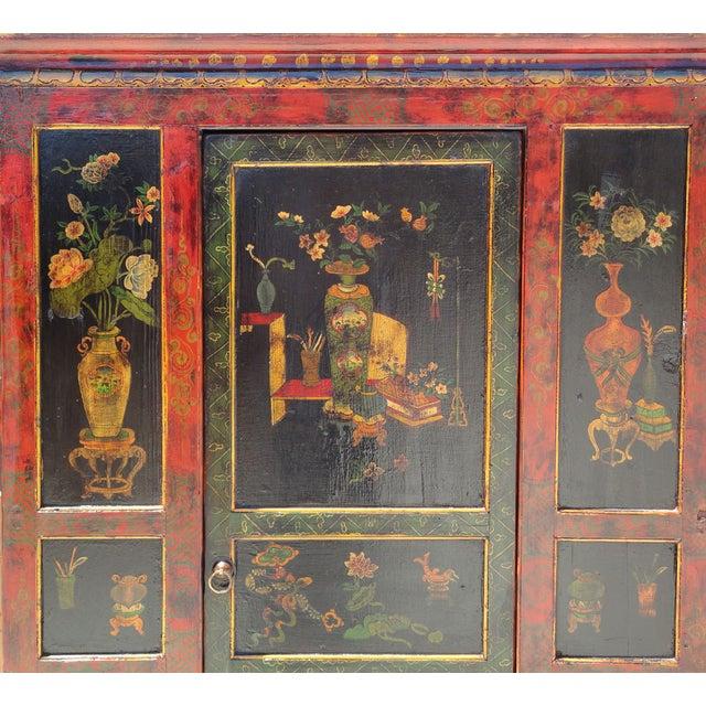 Tibetan Red Black Flower Graphic Storage Cabinet - Image 3 of 6