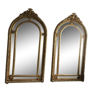 Gilded Scrolling Floor Mirrors - A Pair