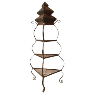 Hand Wrought Iron & Steel Pagoda Top Plant Stand Etegere