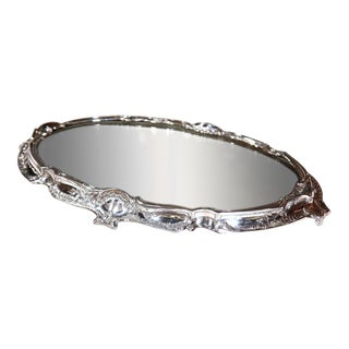 19th Century French Louis XV Silver Plated Mirrored Plateau