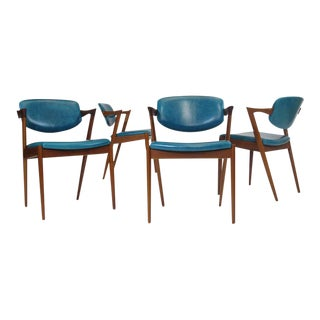 Six Kai Kristiansen Teak Danish Dining Chairs in Turquoise Leather, 20 Available