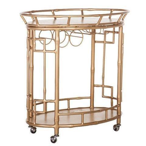 Hollywood Regency Gold Bar Cart - Image 1 of 6
