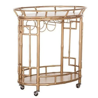 Hollywood Regency Gold Bar Cart
