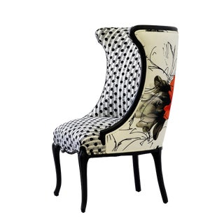 "Black and White Upholstered ""Flora"" Chair"