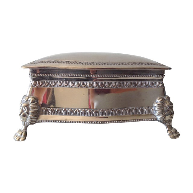 Silver Plated Lion-Footed Engraved Keepsake Box - Image 1 of 11