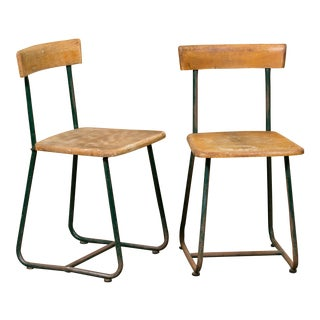 Vintage Wood & Iron Side Chairs - Set of 4