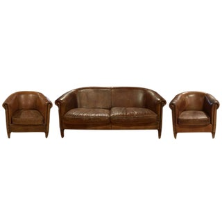 Three-Piece Leather Suite from Italy