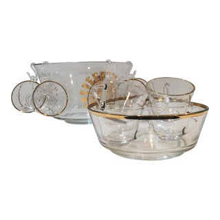 Mid-Century Gold-Rimmed Punch Bowl Set