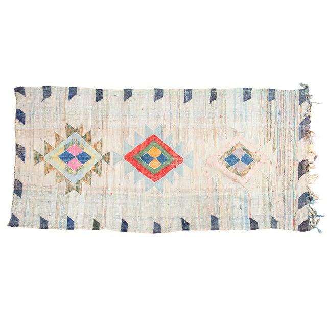 "Vintage Moroccan Rag Rug - 4'1"" X 8'6"" - Image 1 of 8"
