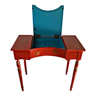 Chinoiserie Red Butterfly Desk