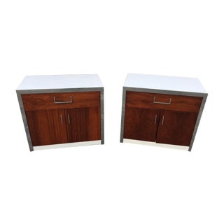 Rosewood & Chrome Night Stands by Milo Baughman