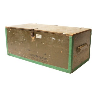 Vintage Industrial Green Military Foot Locker Trunk