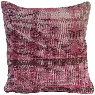 Pink Handmade Rug Pillowcase - Turkish Hand Knotted Pillow