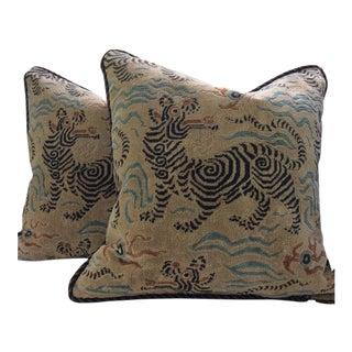 Clarence House Pillows in Tibetan Dragon Raised Velvet - a Pair