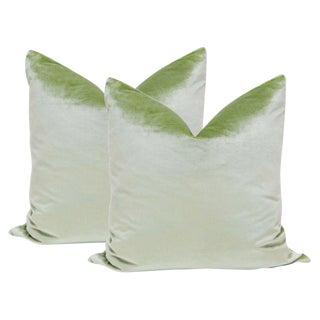 "22"" Italian Silk Velvet Pillows in Pistachio - A Pair"
