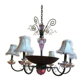 Van Teal Bronze and Purple Acrylic Chandelier