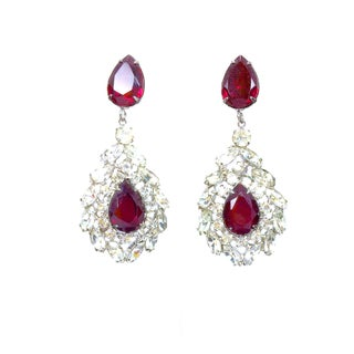 Ruby & Rhinestone Drop Earrings