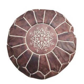 Handmade Mocha Leather Pouf