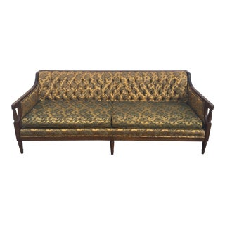 Hollywood Regency Gold & Black Brocade Sofa