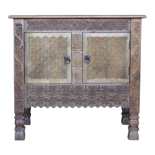 Rustic Swat Carved Cabinet Nightstand