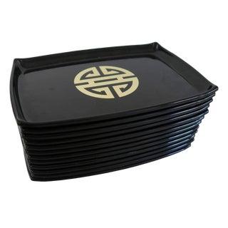 Vintage Black Melmac Gold Medallion Serving Snack Plate Trays - Set of 12