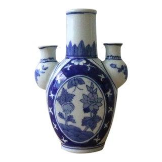 Vintage Blue & White Ceramic Triple Vase