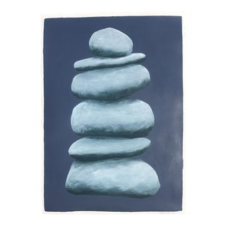 Ocean Blue Cairn on Paper by Stephanie Henderson