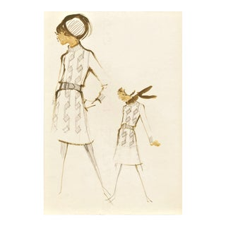 Original Mid-Century Fashion Drawing -House of Balmain