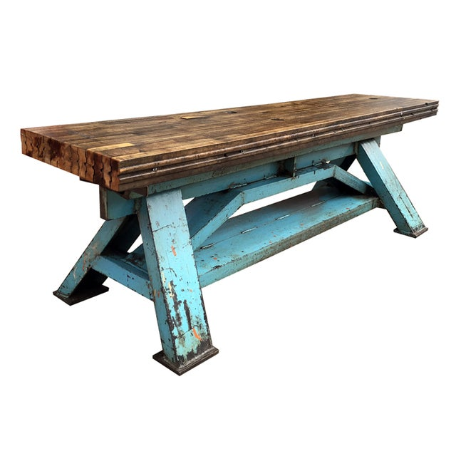 Reclaimed Wood Industrial-Inspired Bench - Image 1 of 6