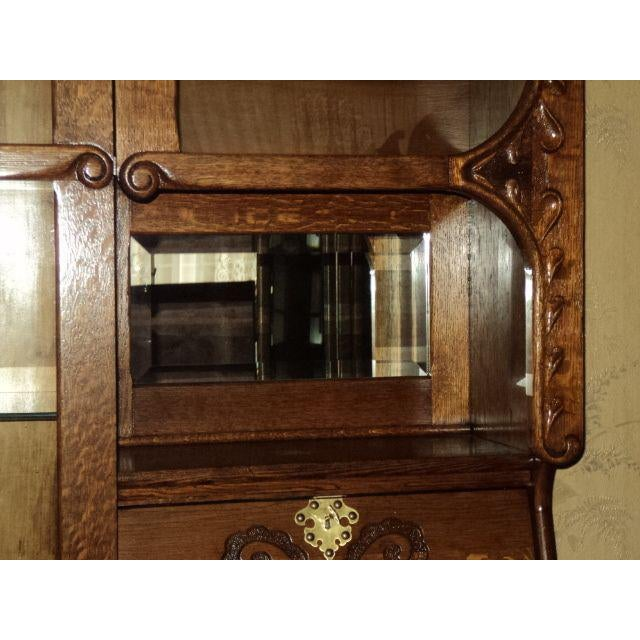 Antique Oak Display Cabinet - Image 5 of 7 - Antique Oak Display Cabinet Chairish