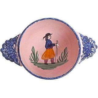 Antique Henriot Quimper Pink Ceramic Bowl