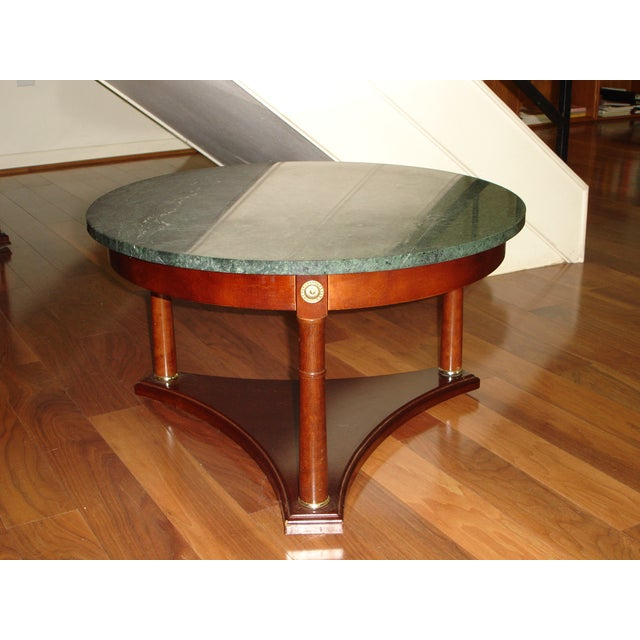 Antique Marble Coffee Tables: Vintage Green Marble Top & Mahogany Coffee Table