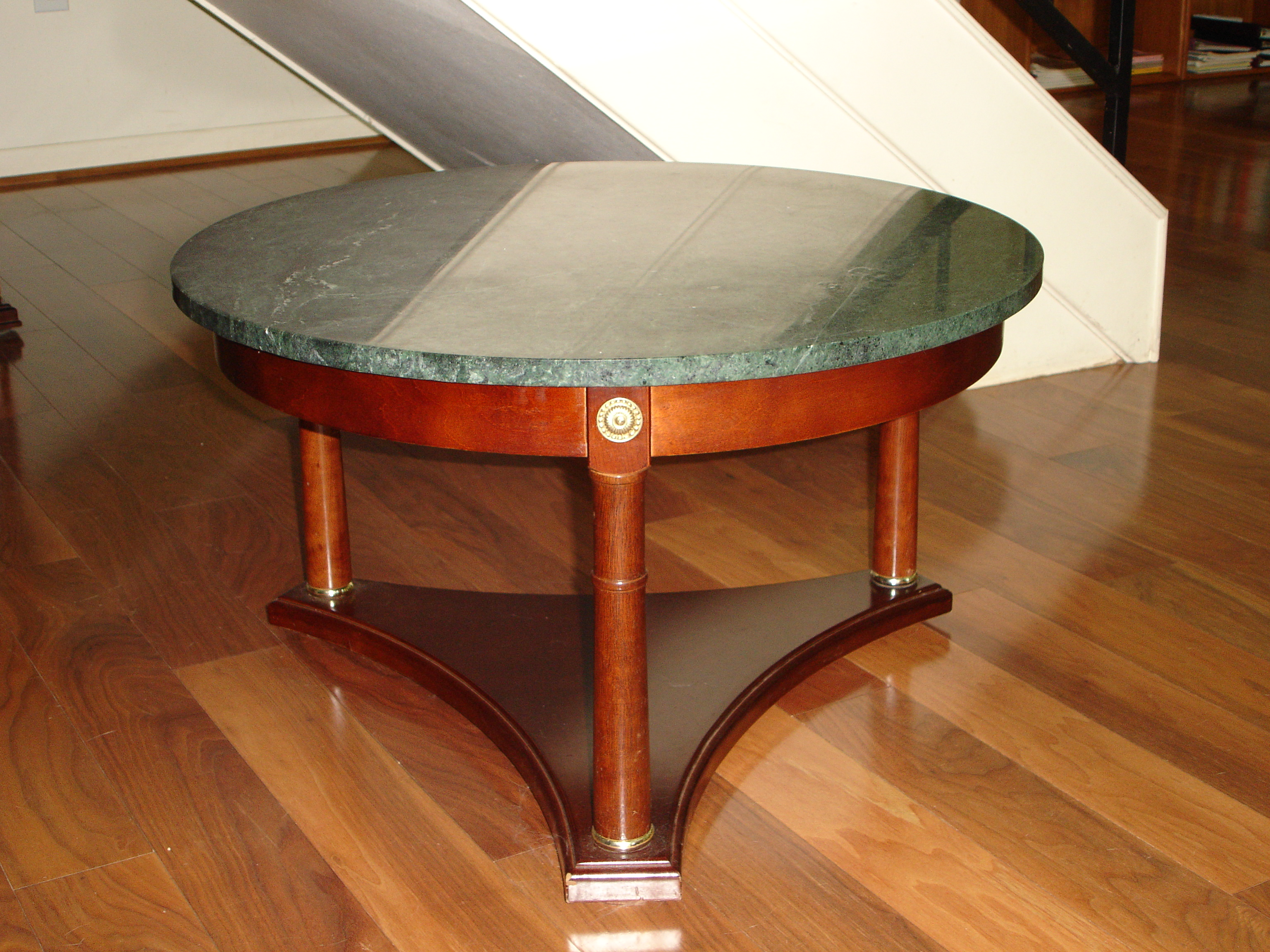 vintage green marble top & mahogany coffee table | chairish