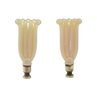 Aladdin Alacite Glass Harp Finials- A Pair
